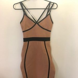 Tan bandage missguided midi , size 0